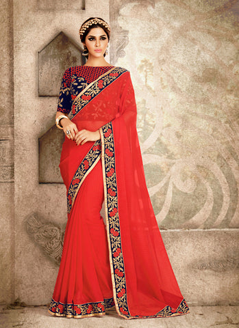 Women's Ethnic Beautiful Looking Chiffon Red Ethnic Saree