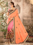Rose Pink Saree With Embroidered Pallu