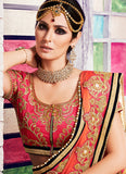 Georgette Based Embroidered Pattern Saree Orange Color