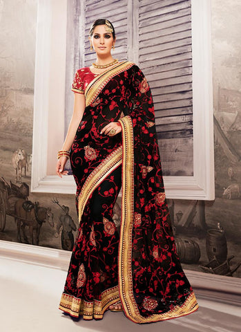 Georgette Based Embroidered Pattern Saree Black Color