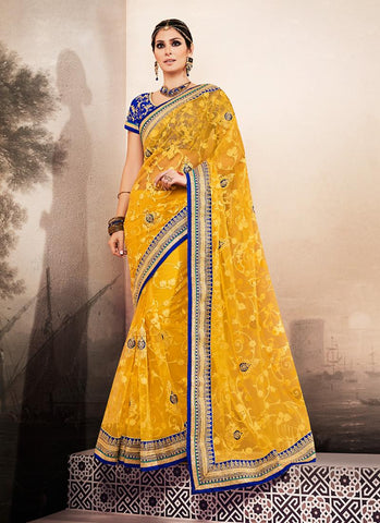 Georgette Based Embroidered Pattern Saree Yellow Color