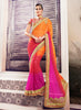 Women's Attractive Looking Ethnic Orange Crystals Stones Saree