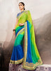 Georgette Based Embroidered Pattern Saree Emerald Color