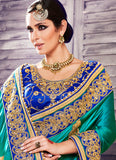 Georgette Based Embroidered Pattern Saree Turquoise Color
