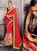 Georgette Based Embroidered Pattern Saree Deep Scarlet Color