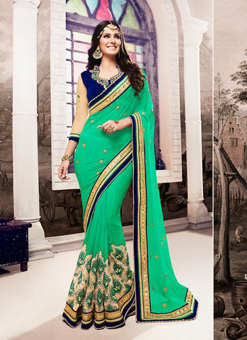 Women's Attractive Looking Ethnic Green Beads Saree