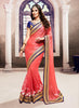 Net Based Embroidered Pattern Saree Red Color