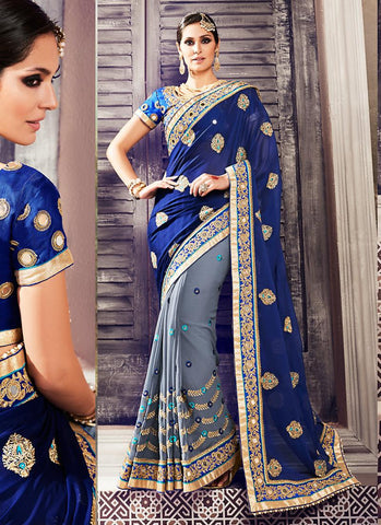 Georgette Based Embroidered Pattern Saree Slate Color