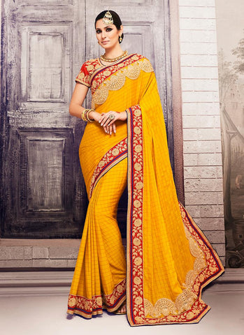 Georgette Based Embroidered Pattern Saree Butter Scotch Color
