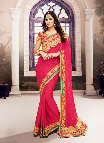 Georgette Based Embroidered Pattern Saree Deep Pink Color