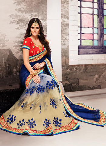 Georgette Based Embroidered Pattern Saree Deep Blue Color