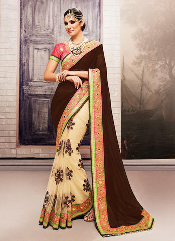 Georgette Based Embroidered Pattern Saree Chocolate Color