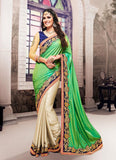Satin Based Embroidered Pattern Saree Mint Green Color