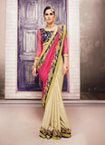 Satin Based Embroidered Pattern Saree Deep Pink Color