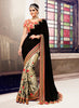Women's Attractive Looking Black Butta Work, Lace, Resham & Beads Ethnic Saree