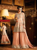 A Line Style Orange Color with Crystals Stones Work Incredible Unstitched Salwar Kameez