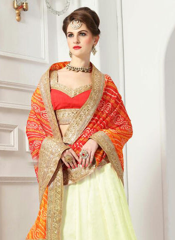 Women's Chiffon Fabric & Cream Pretty A Line Lehenga Style