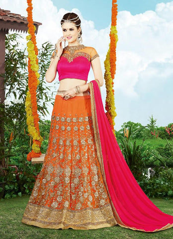 Women's Net Fabric & Orange Pretty Unstitched Lehenga Choli With Lace Work Dupatta
