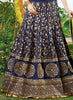 Women's Silk Fabric & Navy Blue Pretty Circular Lehenga Style With Lace Work Dupatta