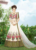 Women's Silk Fabric & Off White Pretty Circular Lehenga Style With Lace Work Dupatta