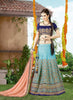 Women's Silk Fabric & Sky Blue Pretty Circular Lehenga Style With Lace Work Dupatta