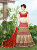 Women's Silk Fabric & Beige Pretty A Line Lehenga Style With Lace Work Dupatta