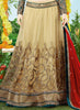Women's Beige & Net Fabric Pretty Unstitched Lehenga Choli With Lace Work Dupatta