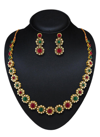 Women's Creative Necklaces in Green & Maroon Color