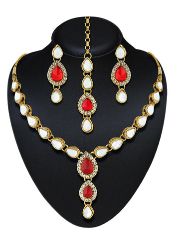 Women's Creative Necklaces in Gold, White & Red Color