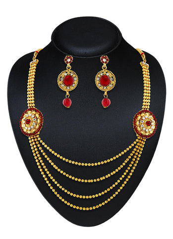 Creative Artificial Jewellery Necklaces For Women's In Red & Gold Color