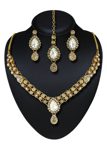 Creative Fashion Jewellery Necklaces For Women's In White & Gold Color