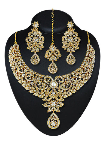 Creative Artificial Jewellery Necklaces For Women's In White & Gold Color