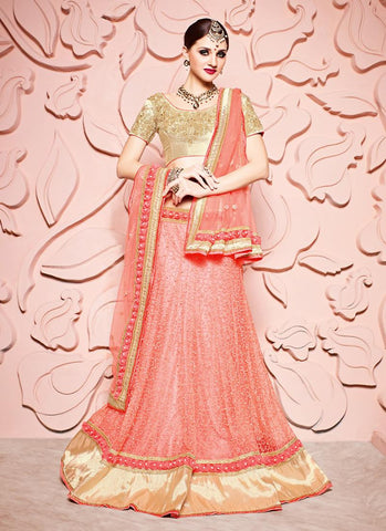 Women's Pretty Circular Lehenga Style in Salmon Color With Beads Work Dupatta