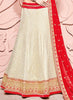 Women's Net Fabric & Off White Pretty Circular Lehenga Style With Lace Work Dupatta