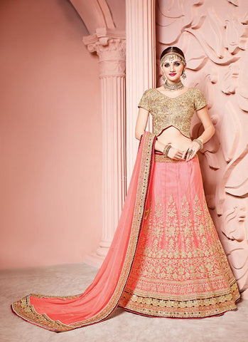 Women's Pink Pretty Lehenga Choli With Beads Work In Traditional Look