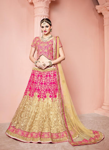 Women's Pretty Circular Lehenga Style in Deep Pink With Embroidery Work Dupatta