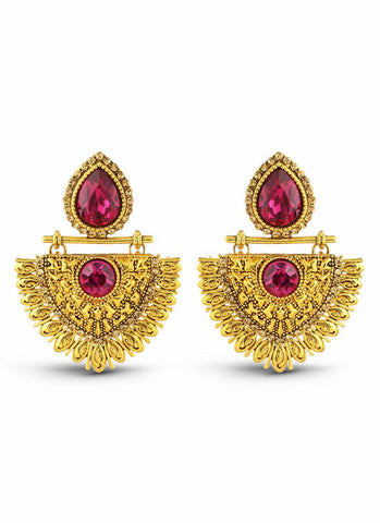 New Look Pink & Gold Artificial Jewellery Earrings For Women's