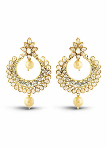 luxurious & Designer Collection In Artificial Jewellery of Earrings In White & Gold