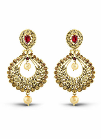 luxurious & Designer Collection In Artificial Jewellery of Earrings In Red & Gold