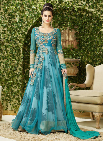 Attractive Raglan Sleeves Green Unstitched Gown