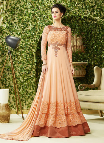 Attractive Georgette Fabric with Sequins Work Unstitched Gown