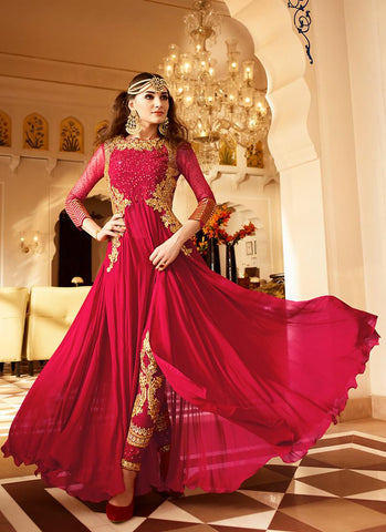 Anarkali Style Red Color with Crystals Stones Work Astounding Unstitched Salwar Kameez