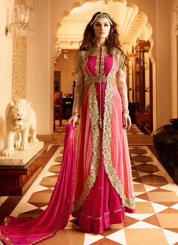 Anarkali Style Pink with Embroidery Work Astounding Unstitched Salwar Kameez