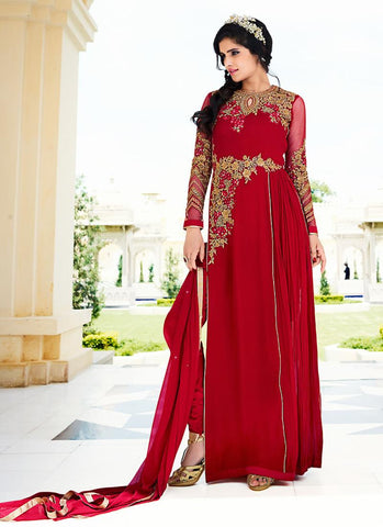 Straight Cut Style Red with Embroidery Work Astounding Unstitched Salwar Kameez