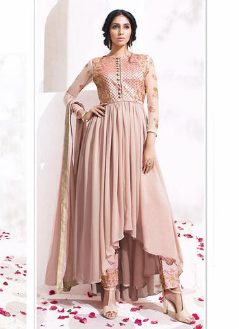 Anarkali Style Pink Color with Embroidery Work Astounding Unstitched Salwar Kameez