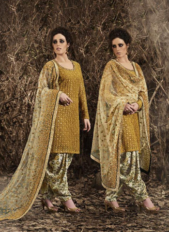 Straight Cut Style Incredible Salwar Kameez in Beige & Net Fabric