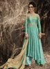 Green Bhagalpuri Silk Incredible Salwar Kameez in Anarkali Style
