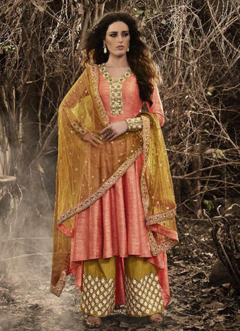 Pink Bhagalpuri Silk Incredible Salwar Kameez in Anarkali Style