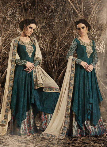 Green Color Bhagalpuri Silk Incredible Salwar Kameez in Anarkali Style
