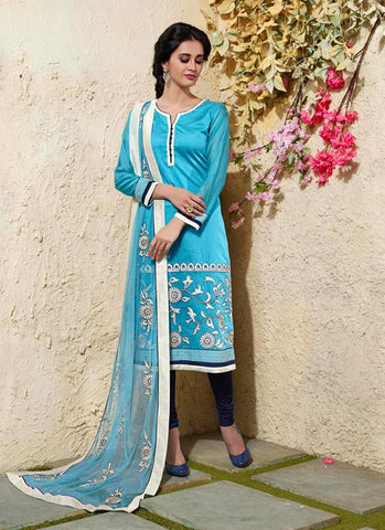 Cotton Silk Fabric & Navy Blue Color Attractive Churidar Style In Straight Cut Look
